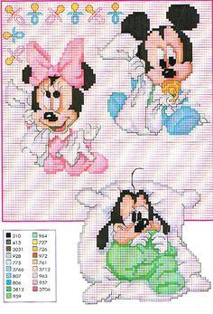 Gráfico ponto cruz Disney - Mickey, Minnie e Pateta.