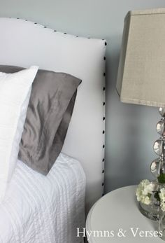 DIY Upholstered Headboard Tutorial | Hymns and Verses - make template out of cardboard to keep tacks evenly spaced.