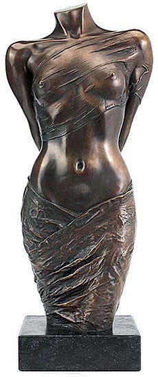 "Willi Kissmer - Skulptur ""Halbakt mit zwei Tüchern"" (2008), Bronze (Thx Ra)"