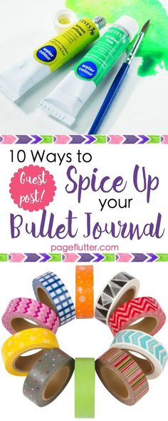 10 Ways to Spice Up Your Bullet Journaling | http://pageflutter.com | Creative ways to blend bullet journaling and art journaling!