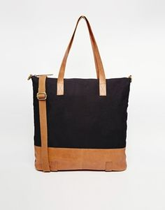 ASOS Canvas and Leather Tote Bag