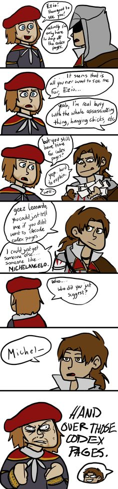 don't be a jerk, ezio by iously on deviantART. Real-life Leonardo and Michelangelo didn't get along