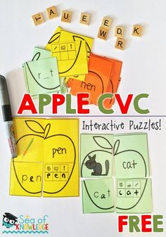 Sea of Knowledge's Free CVC Words Interactive Puzzles   What better way to get kids to practice their CVC words than by using CVC interactive puzzles? The fun bonus about these cards is that the kids will learn to write the letter sound as they say the word. There are four pieces to the puzzle (apple) and the kids need to find and match the pieces.   Head on over to THIS BLOG POST