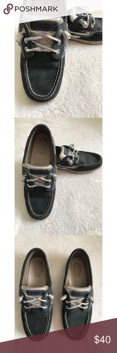 Sperry boat shoes. LIKE NEW! Only worn a handful of times. Sperry, blue and silver boat shoes. Size 9. Sperry Shoes Flats & Loafers