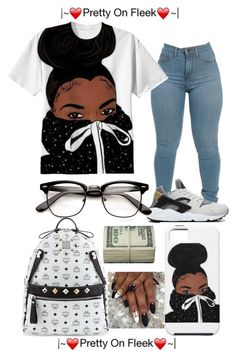 """pretty on fleek"" by baddie143123 ❤ liked on Polyvore featuring NIKE and MCM"