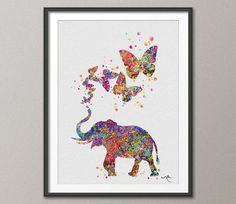 Elephant & Butterflies Art Print Watercolor Painting by CocoMilla
