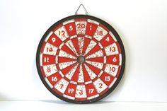 Vintage Dart Board Red White Spool Memo by CalmCoolCollectedVin, $36.00