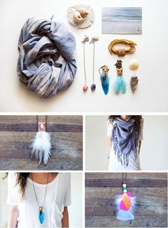 scarves, earrings, necklaces