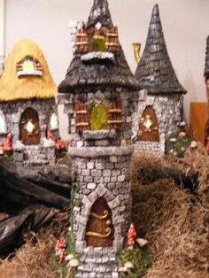 Miniature Enchanted Fairy Garden Tower w Winged Finial