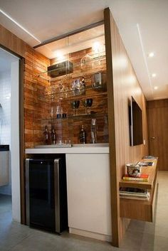You will have the choice to add price to your non-public dwelling or loft and get further delight by together with a home minibar. There's a variety o. Mini Bars, Bar Sala, Small Bars For Home, Bar Unit, Home Bar Decor, Home Bar Designs, Wall Bar, Kitchen Design, Interior Decorating