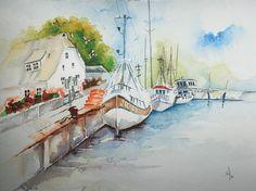 Am.Hafen. Aquarell 40x30 cm