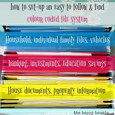 Organizing Paperwork with a Colour Coded File System | The Happy Housie