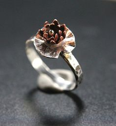 Sterling Silver and Copper Lotus Flower Ring  by AnElementofSilver