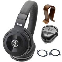 a4d5477893b Audio-Technica Solid Bass Wireless Over-Ear Headphones w/ Built-in Mic &  Control with Universal Wood Headphone Stand & Slappa HardBody PRO Full  Sized ...