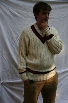 Vintage Gray Nicolls Cricket Sweater, Cable Knit Jumper Cable Knit Jumper, Neck Collar, Sport Wear, Black Stripes, Cricket, Men Sweater, Dress Up, Pullover, Gray