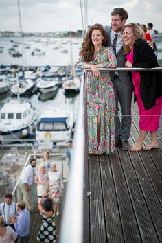 wedding guests at the royal motor yacht club sandbanks wedding