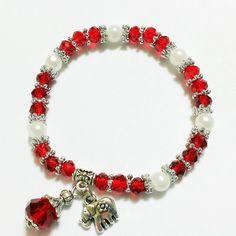 Bratara margele sticla, perle plastic alb, pandantiv elefant Diy Jewelry, Jewlery, Wire Wrapping, Beaded Bracelets, Plastic, Beads, Bangle Bracelets, Bead, Jewels