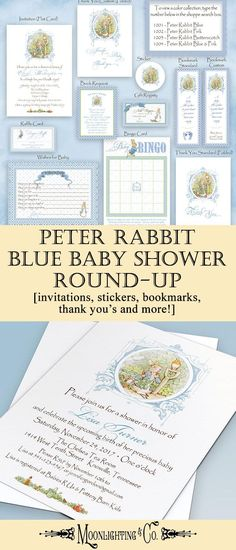 Peter Rabbit Blue Baby Shower Round-up: A full collection of available peter rabbit themed baby shower invites and accessories! This adorable invitation can be customized with the child's name and details and also offers matching shower games, stickers, thank you cards, bookmarks and more, to make the special event complete! #Moonlighting #baby #custom #babyshower #peterrabbit