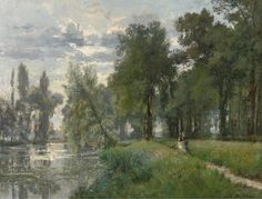 "Alexandre-René Véron (French, 1826-97), ""Walking by the River"" (1874)."