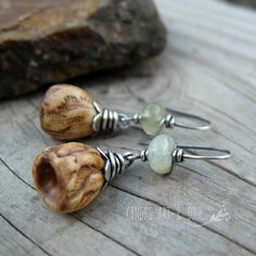 Aquamarine Earrings with Ceramic Bellflowers Silver