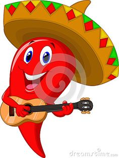 Chili pepper mariachi cartoon wearing sombrero