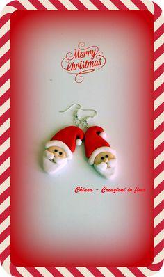 orecchini Babbo Natale #fimo #handmade #natale acquistali ora su https://www.facebook.com/ChiaraCreazioniInFimo?ref=hl