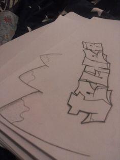 Graffiti letters met dotwork detail, bergtopjes geïnspireerd door iemand anders