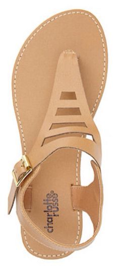 Laser Cut out t-strap thong sandal $15