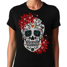 Sugar Skull T-Shirts, Hoodies. GET IT ==► Funny Tee Shirts