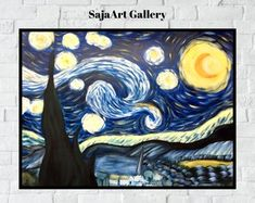 Starry Night Van Gogh Painting, Hand Painted Acrylic On Canvas, Famous Painting, Apartment Wall Art, Bedroom Wall Art Canvas Paper, Acrylic Painting Canvas, Hand Painting Art, Gifts For Art Lovers, Lovers Art, Blue Living Room Decor, Bedroom Decor, Apartment Wall Art, Van Gogh Paintings