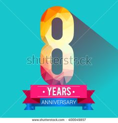 8 Years Anniversary logo. with colorful polygonal design elements. - stock vector