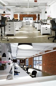 Open plan office with brick wall #openplanoffice Cubicles.com
