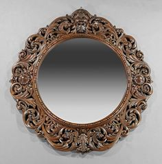 American Highly Carved Oak Mirror : Lot 802