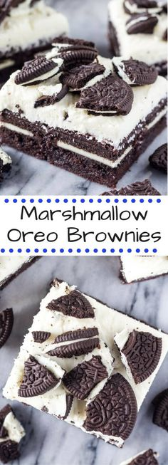 Fudgy brownies stuffed w/ Oreos & topped with fluffy marshmallow frosting & more Oreo cookies. You NEED these Marshmallow Oreo Brownies