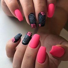 Spring Nail Art, Nail Designs Spring, Gel Nail Designs, Spring Nails, Summer Nails, Nails Design, Tropical Nail Designs, Pedicure Designs, Red Matte Nails