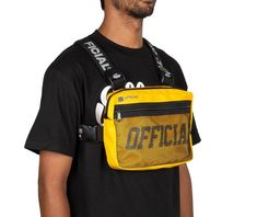 """Official Presents the Yellow Melrose Chest Utility Bag Features: Yellow chest rig 3M Reflective """"Official"""" print inside front mesh pocket Yellow 600 Denier nylon Repeating logo strap design Fully adjustable elastic straps for shoulder and chest Dimensions HxWxD : 7.5"""" x 11"""" x 2"""" Chest Rig, Apocalypse, Fashion Design, Clothes, Shoulder, Outfits, Urban Swag, Backpack Purse, Trends"""