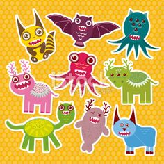 Sticker set Funny monsters collection on Polka dot orange background. Royalty Free Stock Vector Art Illustration
