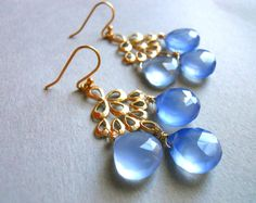 Hydrangea Chalcedony Matte Gold Chandelier Earrings / Orient Collection on Etsy, $89.00