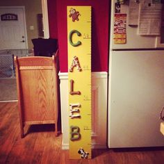 Made this growth chart for my son, inspired by my friend, Steph! Easy to make and the theme can be adapted for your child's bedroom. You can get the letters and animals from AC Moore; I simply painted them to match my son's nursery.