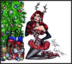 Hayden Williams Fashion Illustrations: 'Santa's Helper' by Hayden Williams