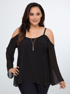 Plus Size Chiffon Cold Shoulder Top, BLACK W/LACE