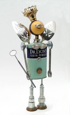 the Tooth Fairy - Amy Flynn Designs Recycled Robot, Recycled Art, Repurposed, Found Object Art, Found Art, Sculpture Metal, Abstract Sculpture, Arte Robot, Art Antique