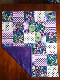 Purple Patchwork Blanket with Minky Back by SewTotallySouthern