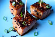 Teriyaki Salmon Bites - Rooting for the Seattle Seahawks? We created these teriyaki salmon bites just for you. #BigGame #TeamBeachbody