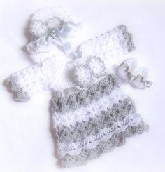 Baby take home outfit set silver gray white baby clothes newborn outfit baby girl matinee dress bow detail christening dress holiday Crochet Bows, Bead Crochet, White Baby Dress, Take Home Outfit, Baby Outfits Newborn, Baby Girl Dresses, Dress With Bow, Baby Hats, Christening