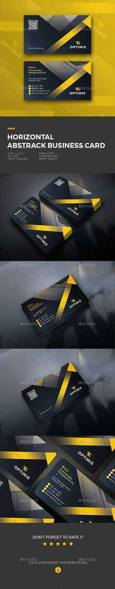 #Horizontal #Abstract #Business #Card #template - #corporate Business #Cards #Print #design. Download here: https://graphicriver.net/item/horizontal-abstract-business-card/20042071?ref=yinkira