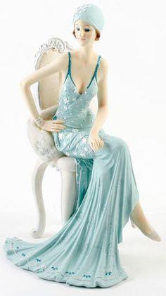 Art Deco Broadway Belles Lady Figurine. Blue Teal Colour #78