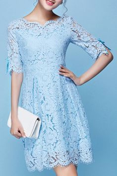 Ladylike Scoop Collar 3/4 Sleeve Pure Color Lace Dress For Women
