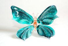 Glass Butterfly Figurine Glass Figurine Art Glass Sculpture Figure