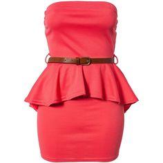 Club L Mini Dip Hem Bandeau Dress ($22) ❤ liked on Polyvore featuring dresses, vestidos, short dresses, dresses/skirts, party dresses, coral, womens-fashion, red cocktail dress, peplum cocktail dress and cocktail mini dress